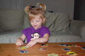 She also has moved on to 24 piece puzzles because she doesn't want to be outdone by her big brother!