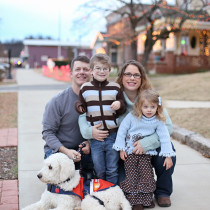 Our family, which now includes our son's service dog, Bonnie.